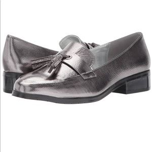 Kenneth Cole silver loafers with tassel.
